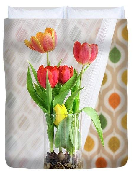 Colorful Tulips And Bulbs In Glass Vase Duvet Cover