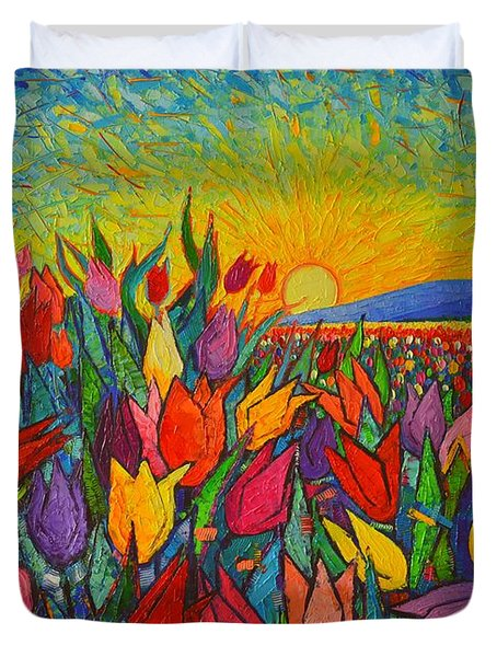 Colorful Tulips Field Sunrise - Abstract Impressionist Palette Knife Painting By Ana Maria Edulescu Duvet Cover by Ana Maria Edulescu