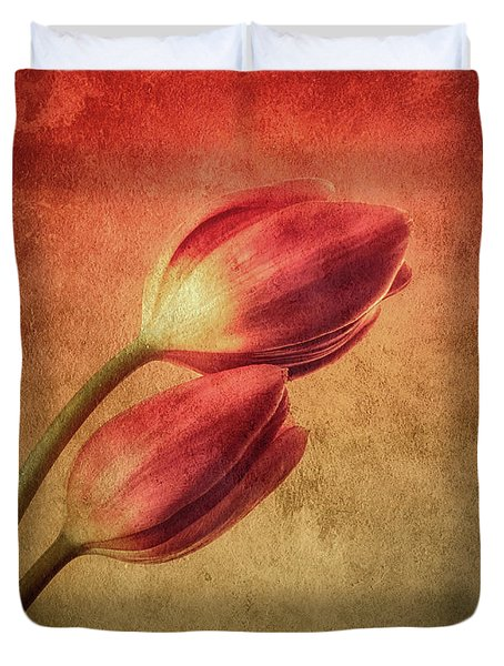 Colorful Tulips Textured Duvet Cover