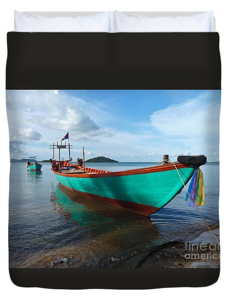 Colorful Turquoise Boat Near The Cambodia Vietnam Border Duvet Cover