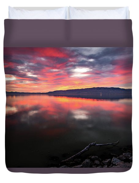 Colorful Utah Lake Sunset Duvet Cover