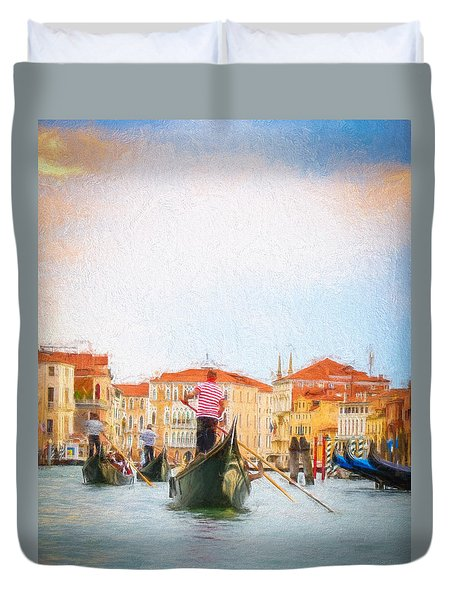 Colorful Venice Transportation Duvet Cover