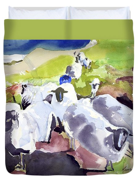 Colorful Waiting Sheep Duvet Cover