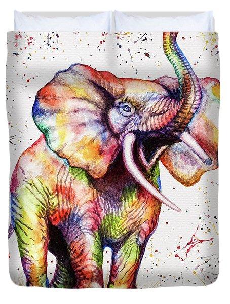 Colorful Watercolor Elephant Duvet Cover