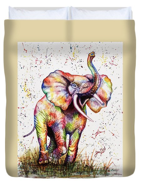 Duvet Cover featuring the painting Colorful Watercolor Elephant by Georgeta Blanaru