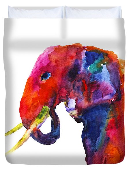 Colorful Watercolor Elephant Duvet Cover