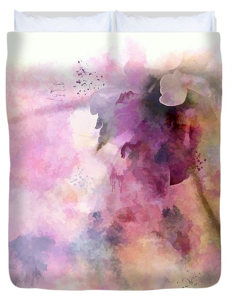 Colorful Watercolor Flower Abstract Duvet Cover by Renee Trenholm