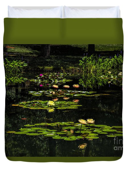 Duvet Cover featuring the photograph Colorful Waterlily Pond by Barbara Bowen