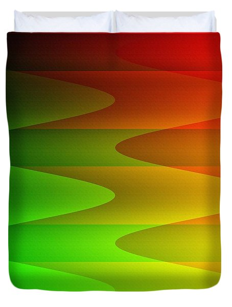 Duvet Cover featuring the digital art Colorful Waves by Kathleen Sartoris