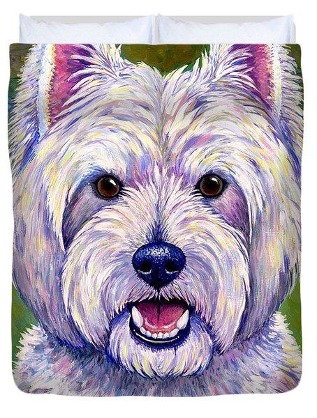 Colorful West Highland White Terrier Dog Duvet Cover