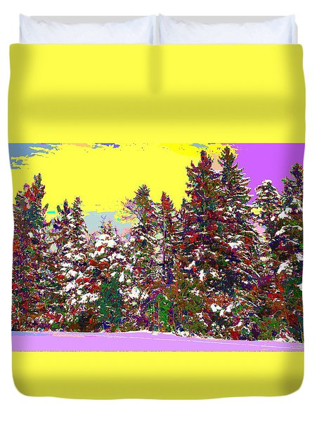 Colorful Winter Forest Duvet Cover