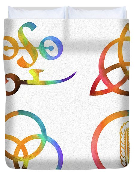 Colorful Zoso Symbols Duvet Cover