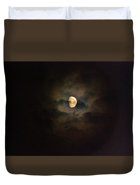 Duvet Cover featuring the photograph Colorfull Moon by Ramona Whiteaker