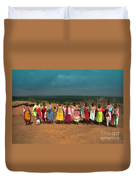 Duvet Cover featuring the photograph Colors And Faces Of The Masai Mara by Karen Lewis