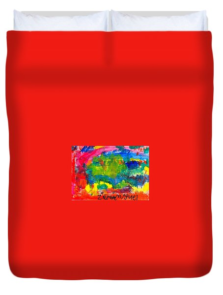 Duvet Cover featuring the painting Colors by Artists With Autism Inc