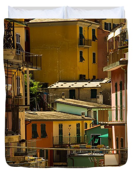 Colors Of Manarola Italy Duvet Cover by Roger Mullenhour