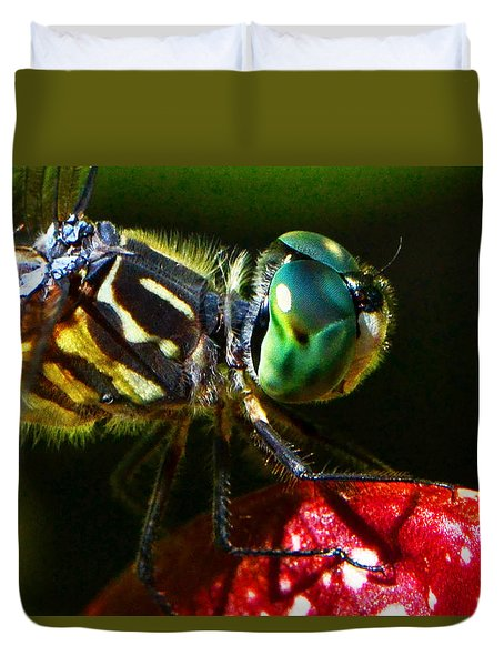 Duvet Cover featuring the photograph Colors Of Nature - Dragonfly On A Pitcher Plant 007 by George Bostian