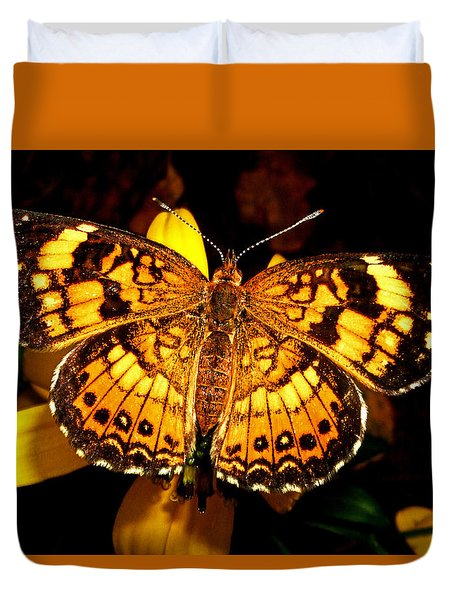 Colors Of Nature - Painted Lady Butterfly 002 Duvet Cover by George Bostian