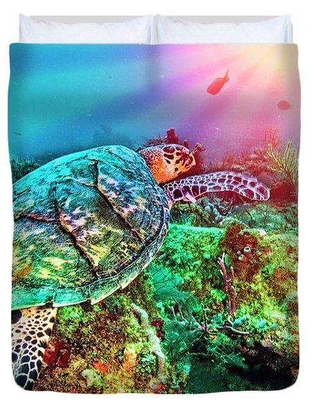 Duvet Cover featuring the photograph Colors Of The Sea In Lights by Debra and Dave Vanderlaan