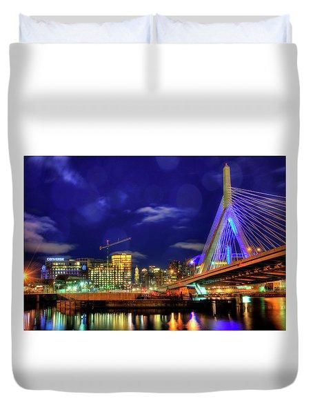 Duvet Cover featuring the photograph Colors Of The Zakim Bridge - Boston, Ma by Joann Vitali