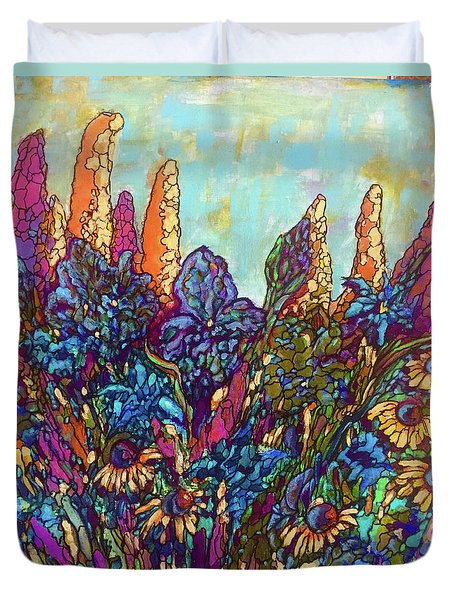 Duvet Cover featuring the painting Colorwild by Rae Chichilnitsky