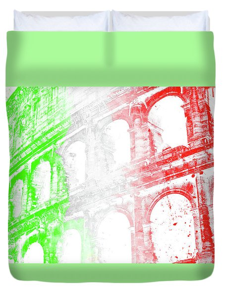 Colosseum - Digital Painting Duvet Cover by Andrea Mazzocchetti