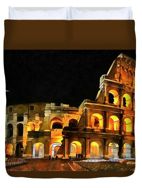 Colosseum Under The Moon Duvet Cover by Mario Carini