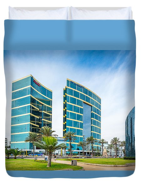 Duvet Cover featuring the photograph Colour Buildings Lima. by Gary Gillette