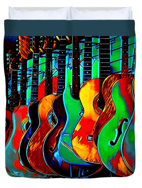 Duvet Cover featuring the digital art Colour Of Music by Pennie McCracken