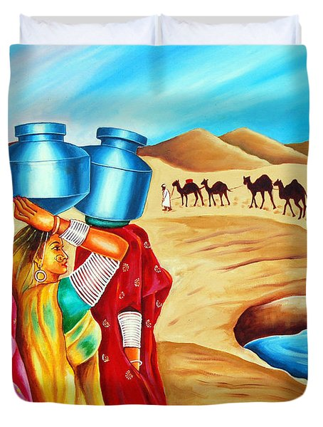 Duvet Cover featuring the painting Colour Of Oasis by Ragunath Venkatraman