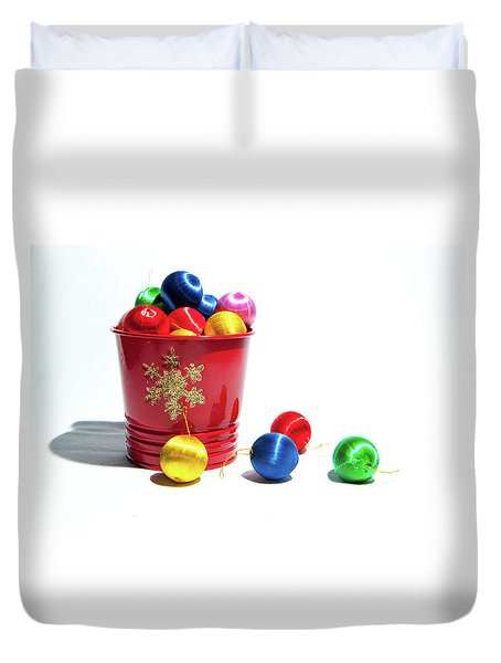 Coloured Baubles In A Pot Duvet Cover