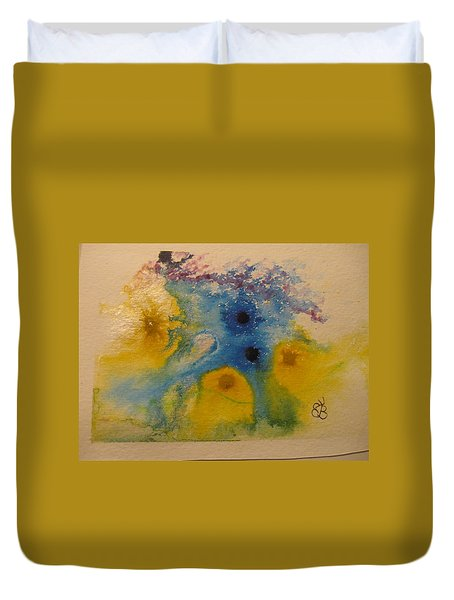 Duvet Cover featuring the drawing Colourful by AJ Brown