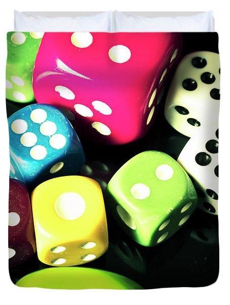 Colourful Casino Dice  Duvet Cover