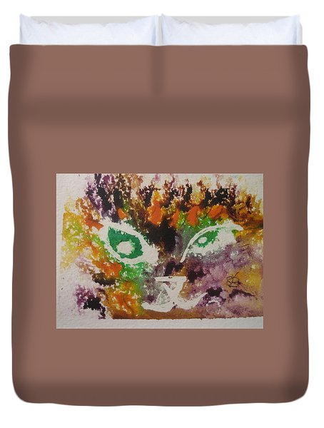 Duvet Cover featuring the drawing Colourful Cat Face by AJ Brown