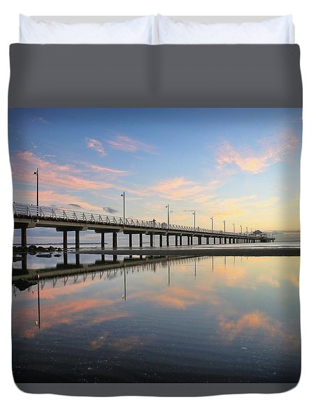 Colourful Cloud Reflections At The Pier Duvet Cover