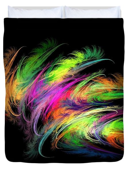 Colourful Feather Duvet Cover by Klara Acel