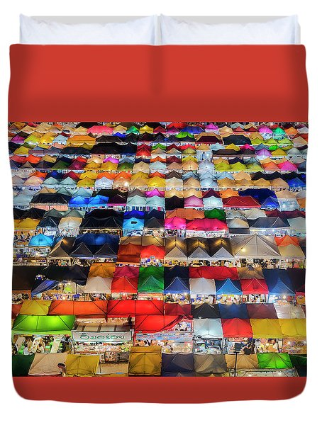 Duvet Cover featuring the photograph Colourful Night Market by Pradeep Raja Prints