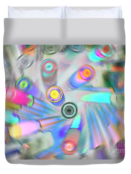Duvet Cover featuring the digital art Colourful Pens by Wendy Wilton