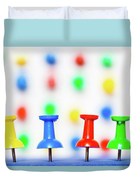 Duvet Cover featuring the photograph Colourful Pins. by Gary Gillette