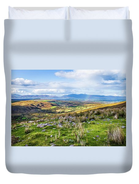 Duvet Cover featuring the photograph Colourful Undulating Irish Landscape In Kerry  by Semmick Photo