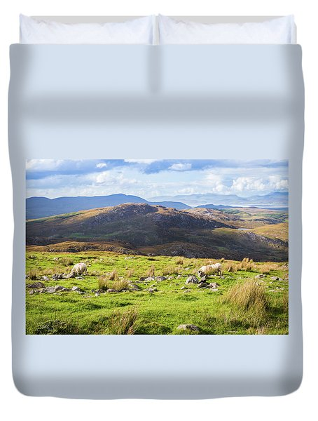 Duvet Cover featuring the photograph Colourful Undulating Irish Landscape In Kerry With Grazing Sheep by Semmick Photo