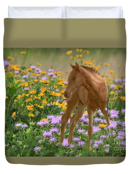 Colt In The Flowers Duvet Cover by Myrna Bradshaw