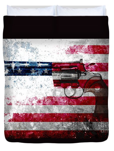 Colt Python 357 Mag On American Flag Duvet Cover