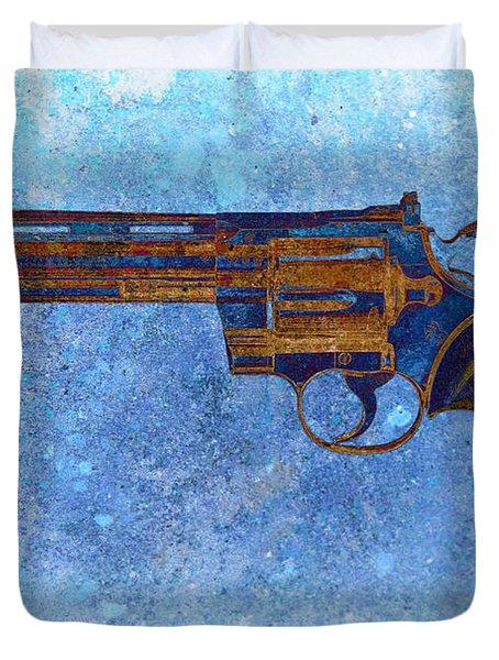 Colt Python 357 Mag On Blue Background. Duvet Cover