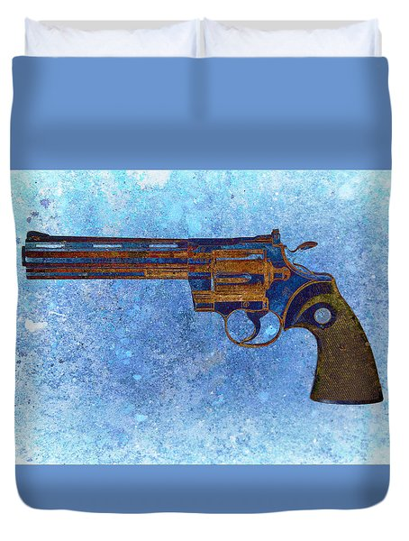 Colt Python 357 Mag On Blue Background. Duvet Cover