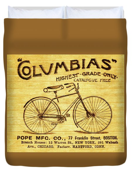 Duvet Cover featuring the mixed media Columbia Bicycle Vintage Poster On Wood by Dan Sproul