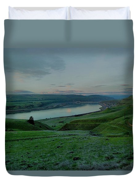 Duvet Cover featuring the photograph Columbia Gorge In Early Spring by Jeff Swan