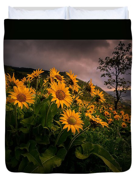 Duvet Cover featuring the photograph Columbia Gorge Joy by Dan Mihai