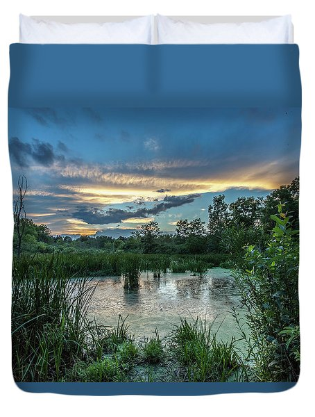 Columbia Marsh Sunset Duvet Cover