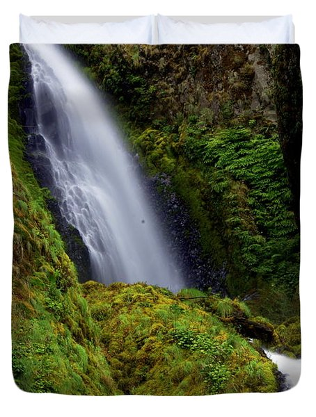 Columbia River Gorge Falls 1 Duvet Cover by Marty Koch